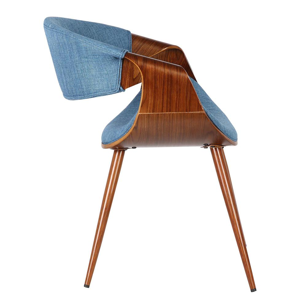 Mid-Century Dining Chair in Walnut Finish and Blue Fabric. Picture 3