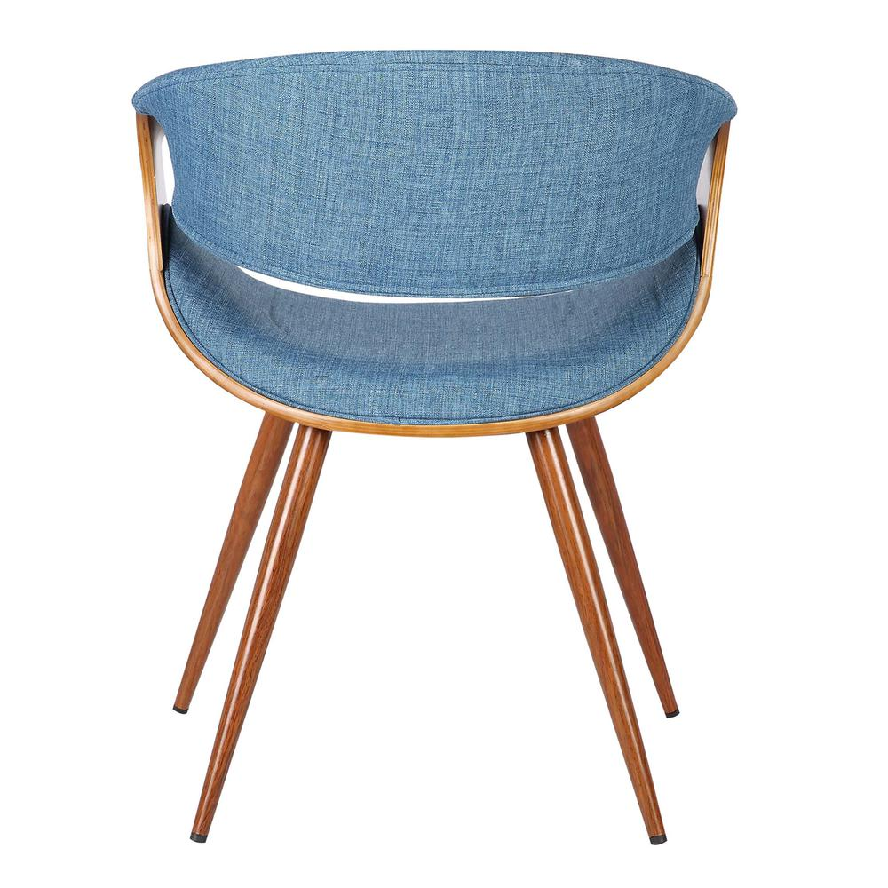 Mid-Century Dining Chair in Walnut Finish and Blue Fabric. Picture 4