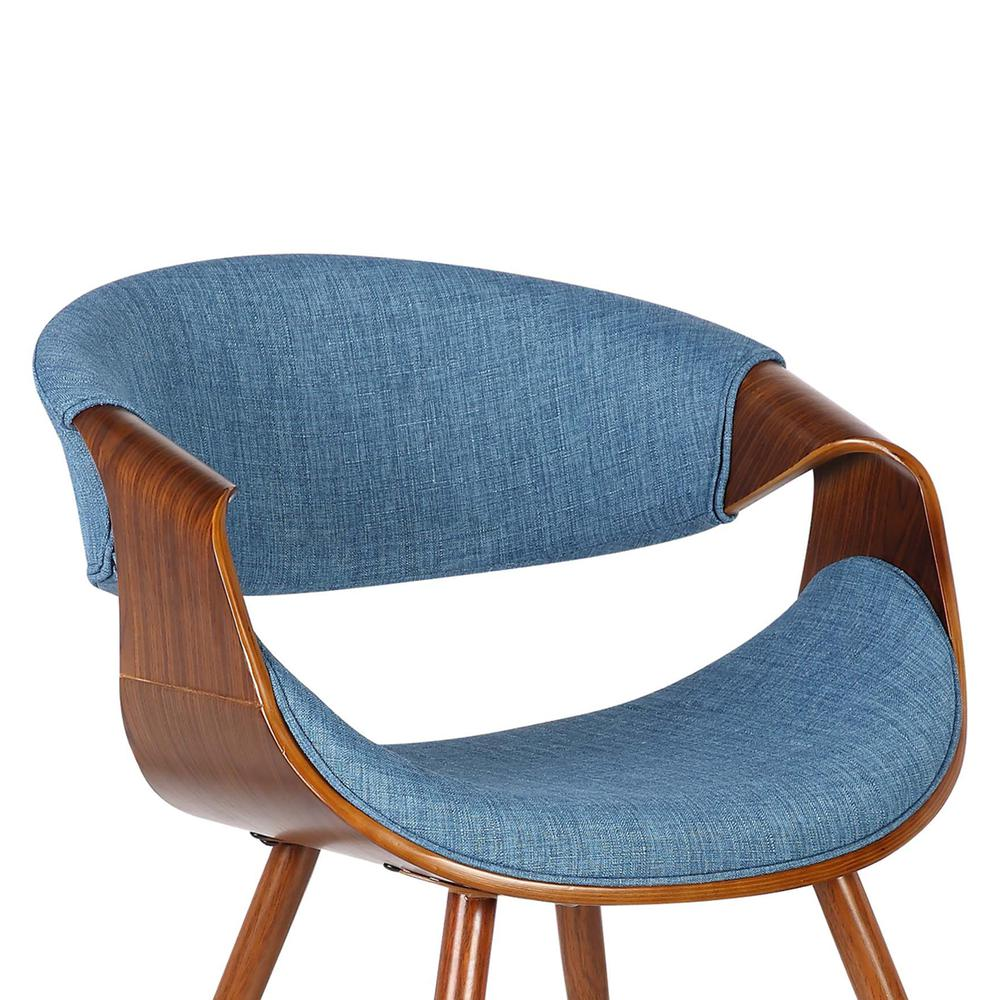 Mid-Century Dining Chair in Walnut Finish and Blue Fabric. Picture 5