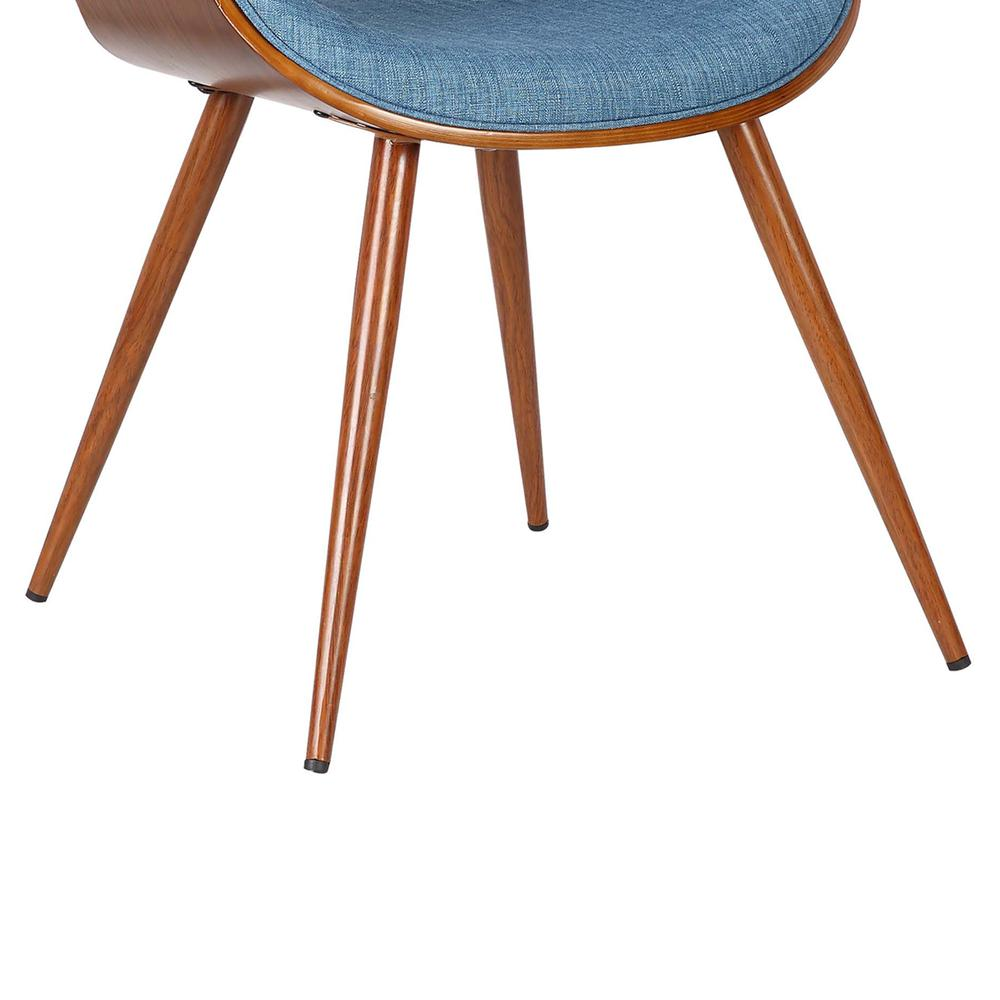 Mid-Century Dining Chair in Walnut Finish and Blue Fabric. Picture 7