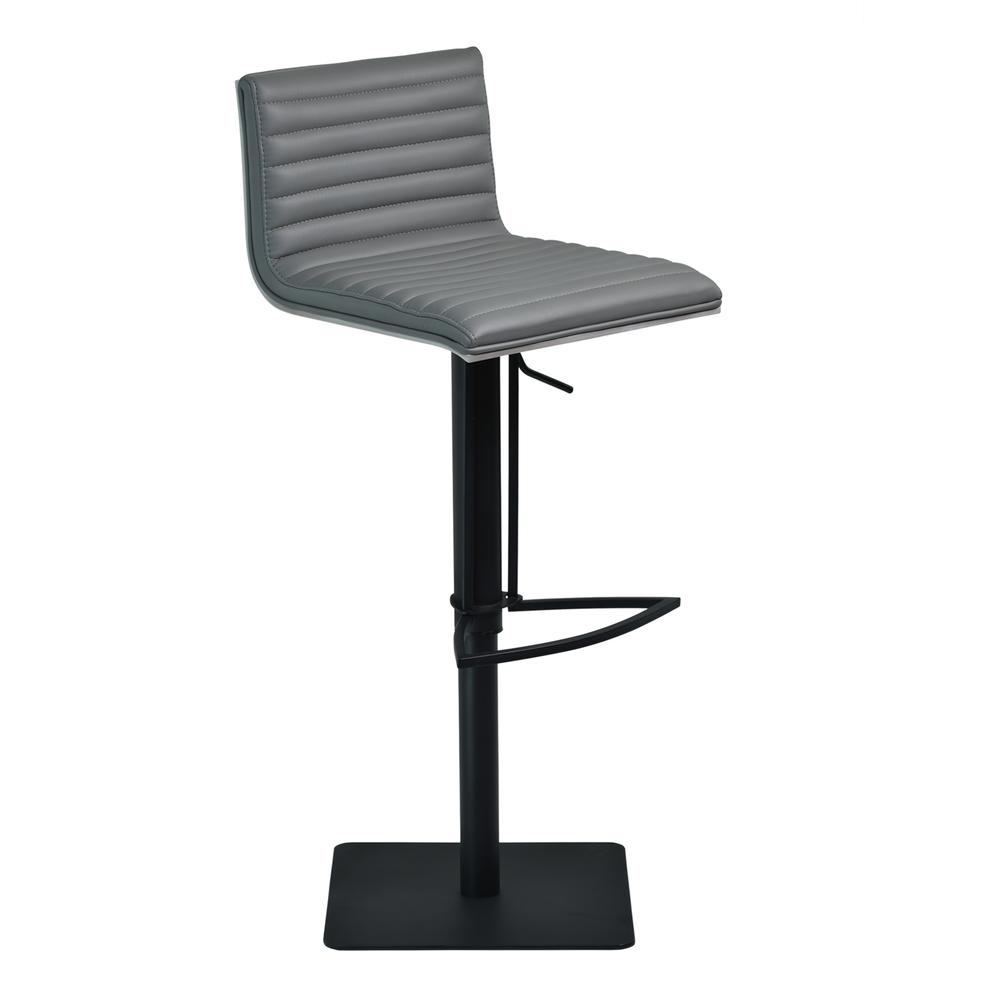Cafe Adjustable Swivel Barstool in Gray Faux Leather with Black Metal Finish and Gray Walnut Veneer Back. Picture 1