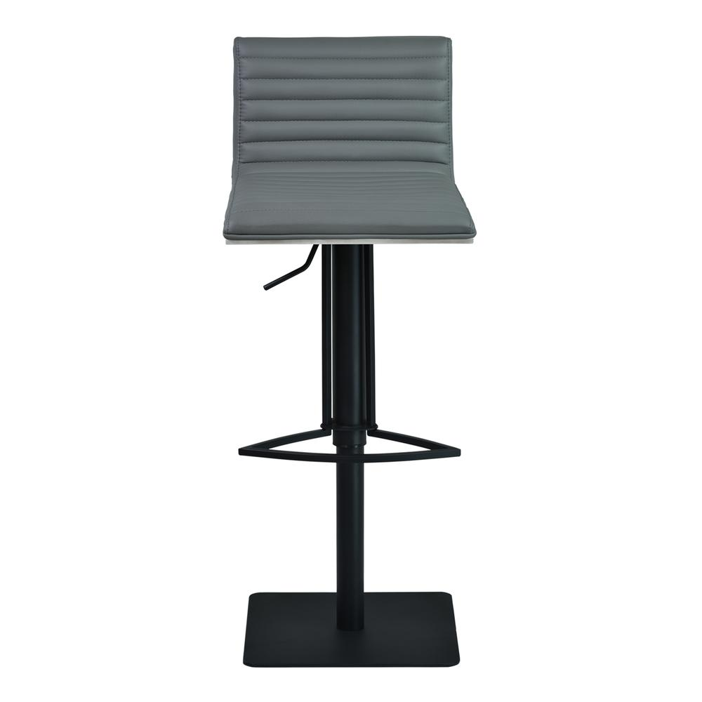 Cafe Adjustable Swivel Barstool in Gray Faux Leather with Black Metal Finish and Gray Walnut Veneer Back. Picture 2