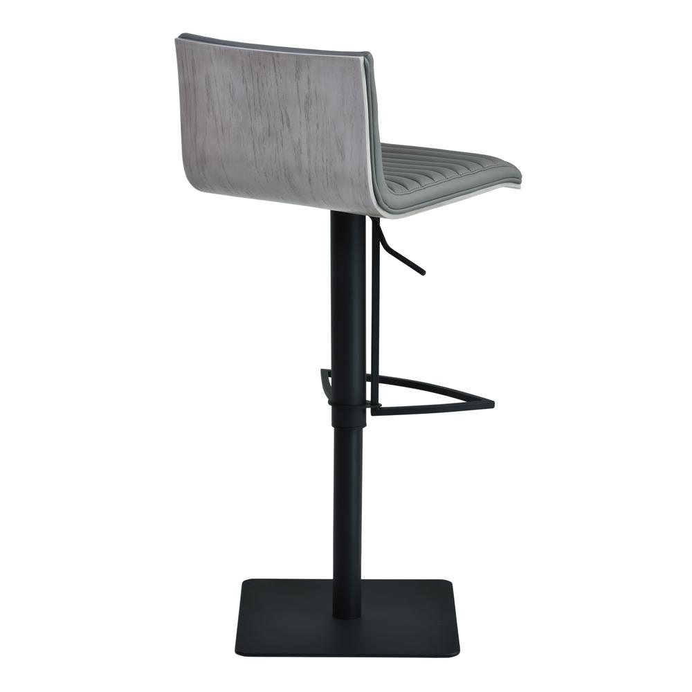 Cafe Adjustable Swivel Barstool in Gray Faux Leather with Black Metal Finish and Gray Walnut Veneer Back. Picture 4