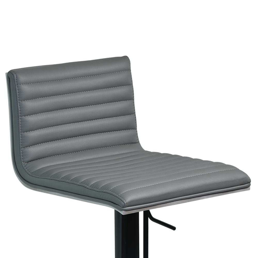 Cafe Adjustable Swivel Barstool in Gray Faux Leather with Black Metal Finish and Gray Walnut Veneer Back. Picture 5