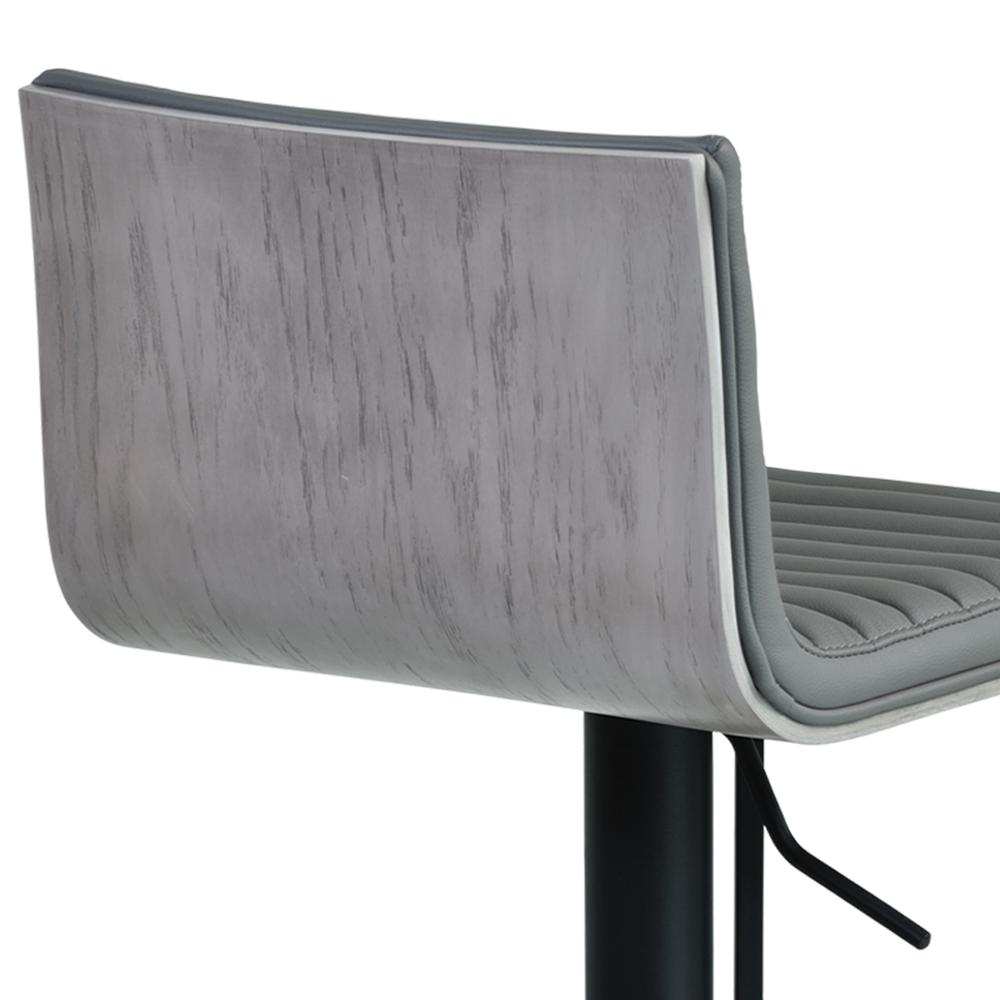 Cafe Adjustable Swivel Barstool in Gray Faux Leather with Black Metal Finish and Gray Walnut Veneer Back. Picture 6