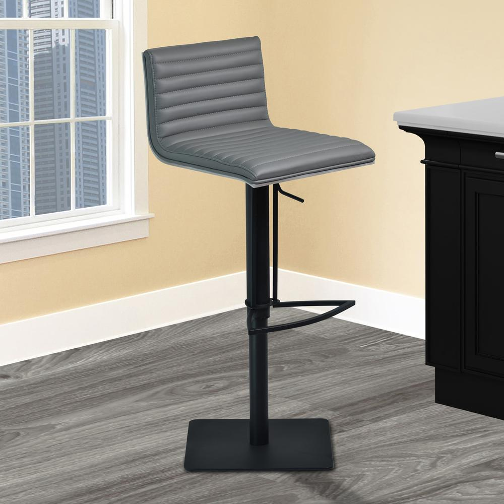 Cafe Adjustable Swivel Barstool in Gray Faux Leather with Black Metal Finish and Gray Walnut Veneer Back. Picture 8