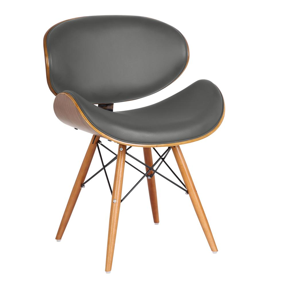 Cassie Mid Century Dining Chair In Walnut Wood And Gray Pu