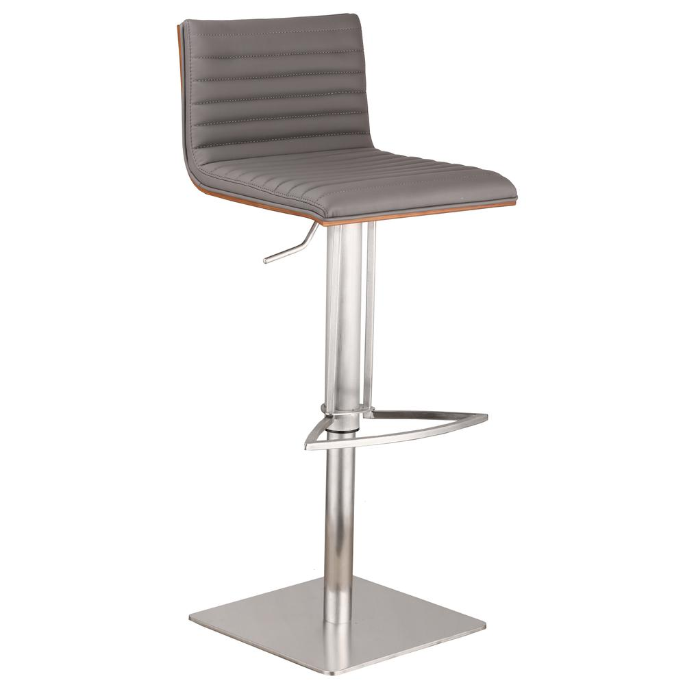 Café Adjustable Brushed Stainless Steel Barstool in Gray Faux Leather with Walnut Back. Picture 1