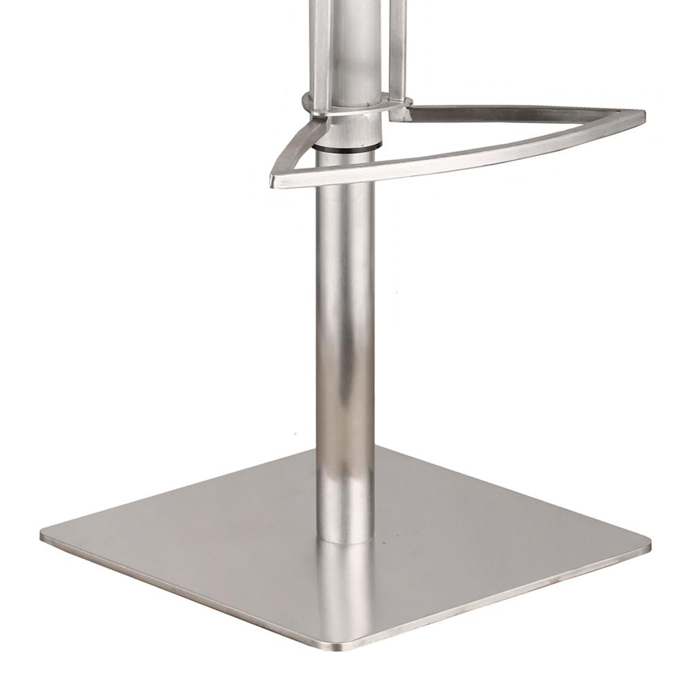 Café Adjustable Brushed Stainless Steel Barstool in Gray Faux Leather with Walnut Back. Picture 3
