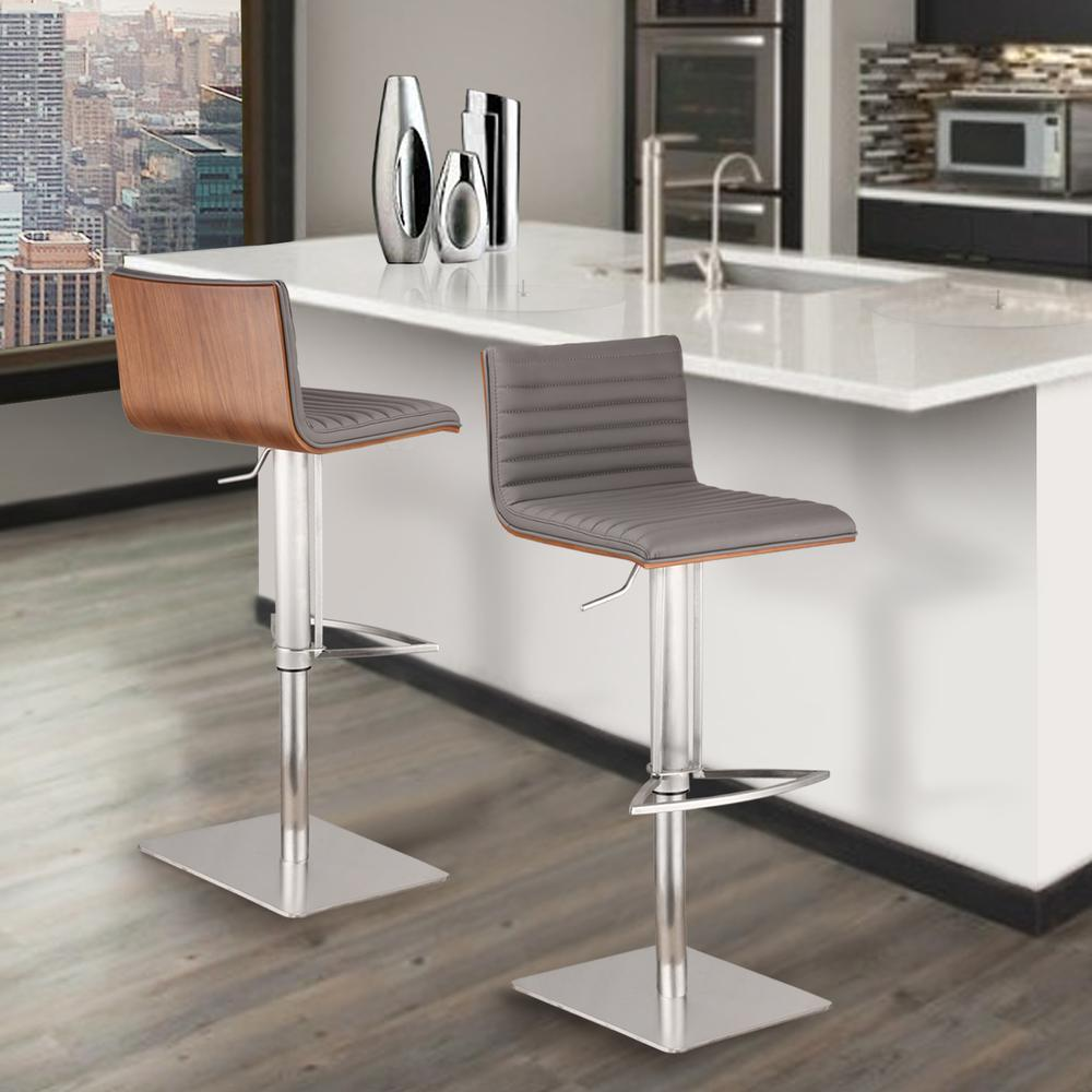 Café Adjustable Brushed Stainless Steel Barstool in Gray Faux Leather with Walnut Back. Picture 4