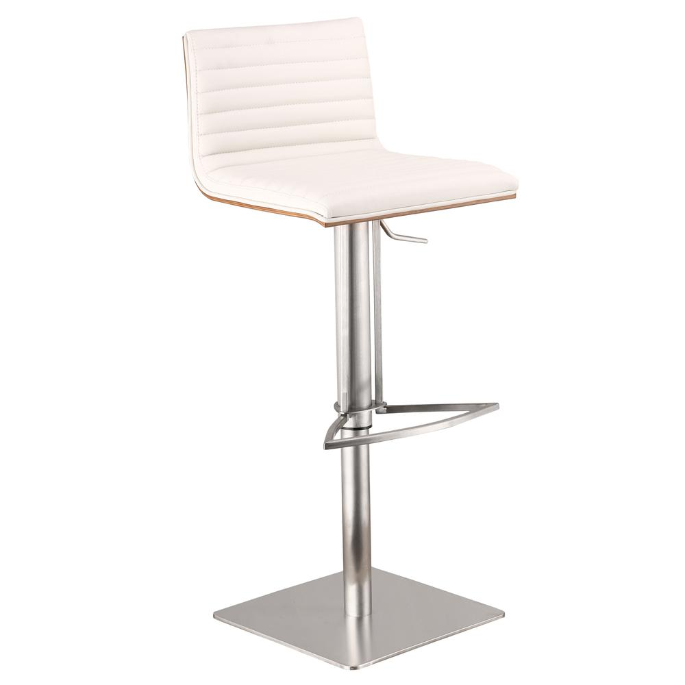 Armen Living Café Adjustable Brushed Stainless Steel Barstool in White Faux Leather with Walnut Back. Picture 1