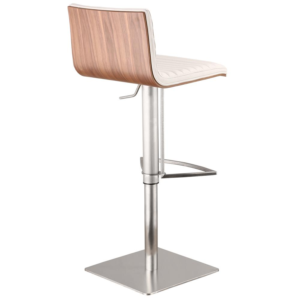 Armen Living Café Adjustable Brushed Stainless Steel Barstool in White Faux Leather with Walnut Back. Picture 2