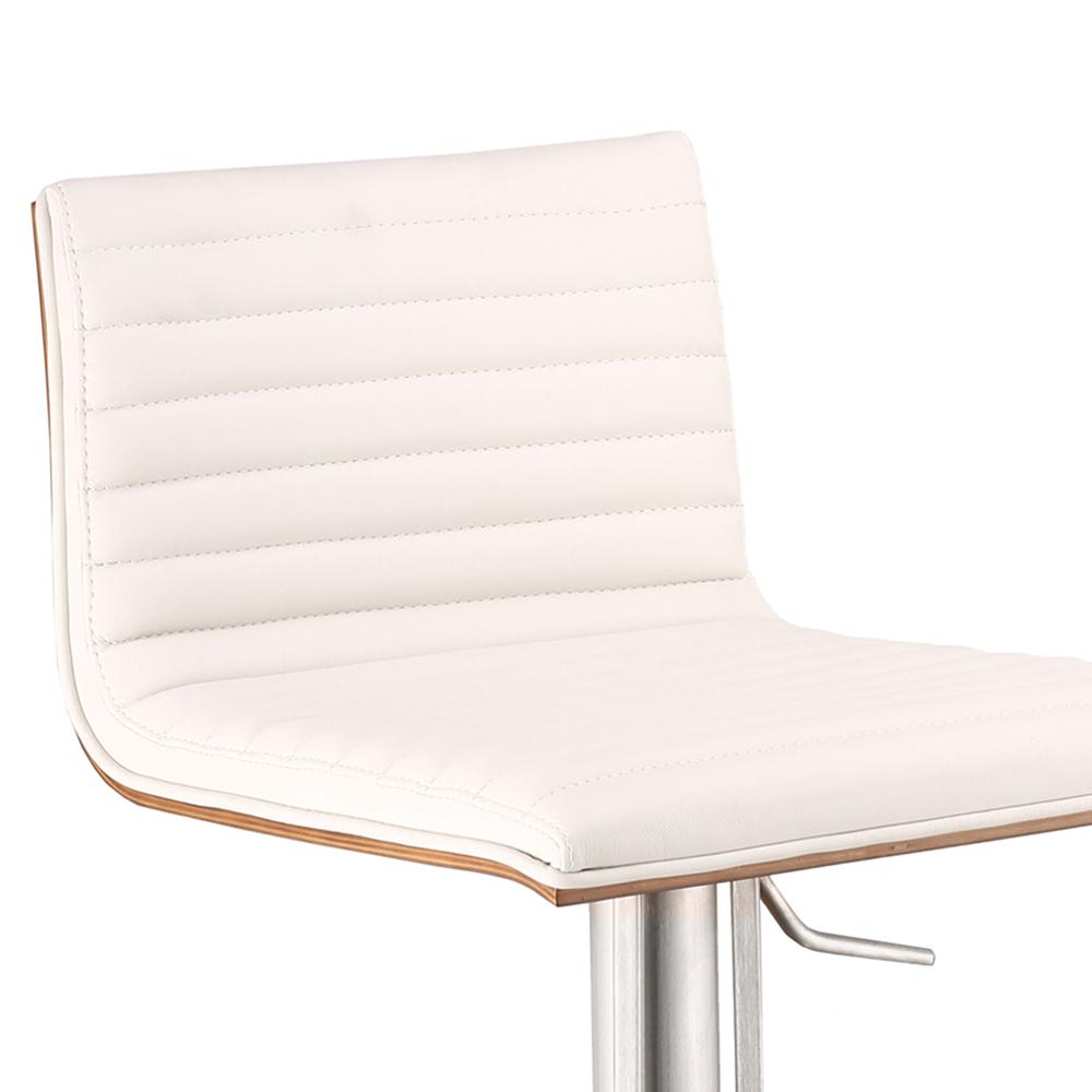 Armen Living Café Adjustable Brushed Stainless Steel Barstool in White Faux Leather with Walnut Back. Picture 3