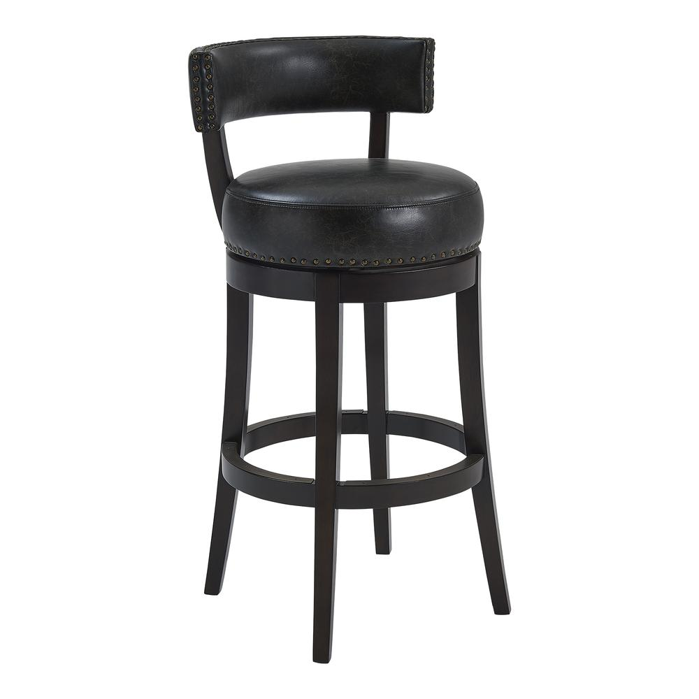 """Corbin 26"""" Counter Height Wood Swivel Barstool in Espresso Finish with Onyx Faux Leather. Picture 1"""