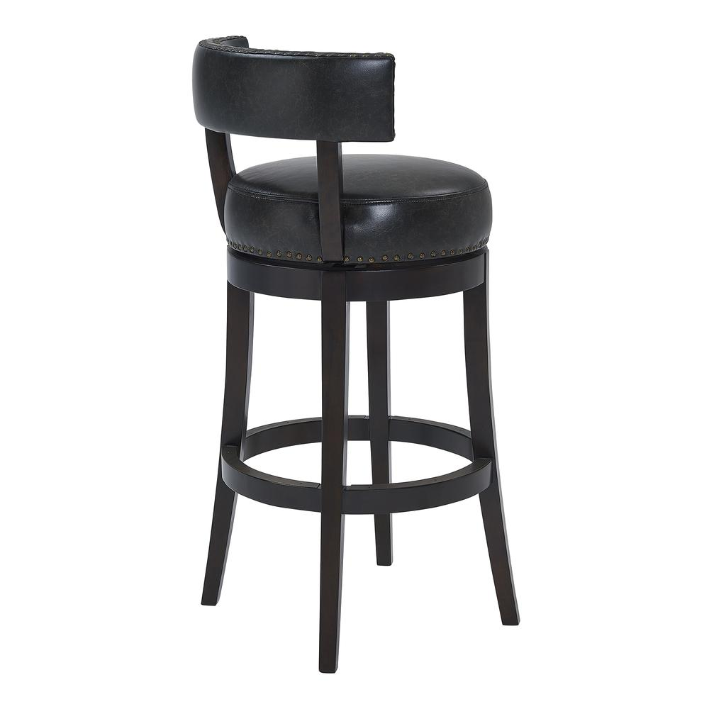 """Corbin 26"""" Counter Height Wood Swivel Barstool in Espresso Finish with Onyx Faux Leather. Picture 3"""
