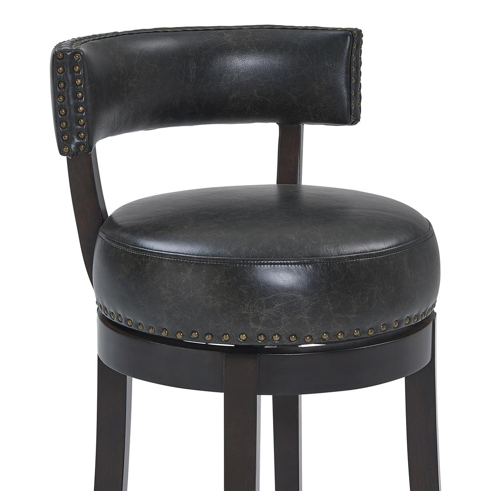 """Corbin 26"""" Counter Height Wood Swivel Barstool in Espresso Finish with Onyx Faux Leather. Picture 4"""