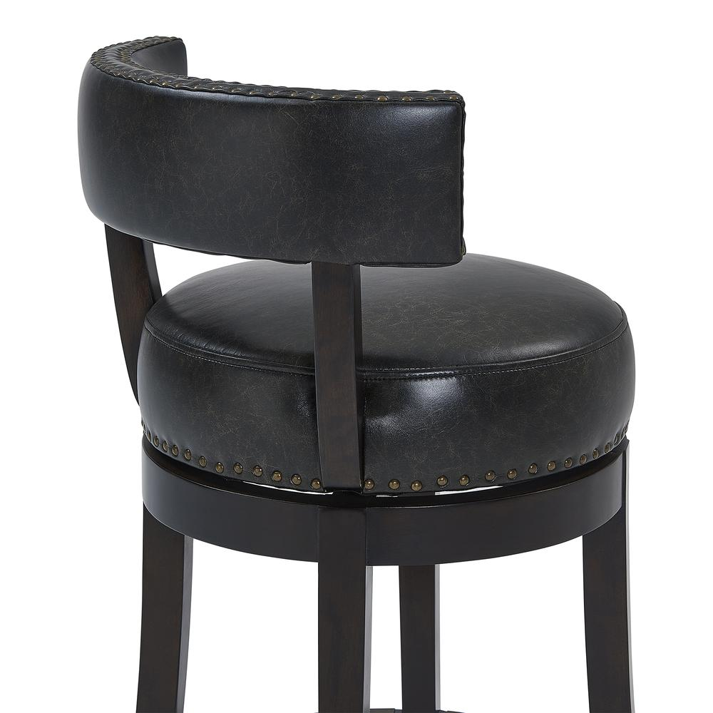 """Corbin 26"""" Counter Height Wood Swivel Barstool in Espresso Finish with Onyx Faux Leather. Picture 5"""