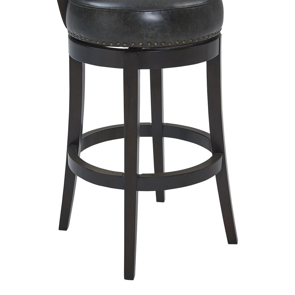 """Corbin 26"""" Counter Height Wood Swivel Barstool in Espresso Finish with Onyx Faux Leather. Picture 6"""