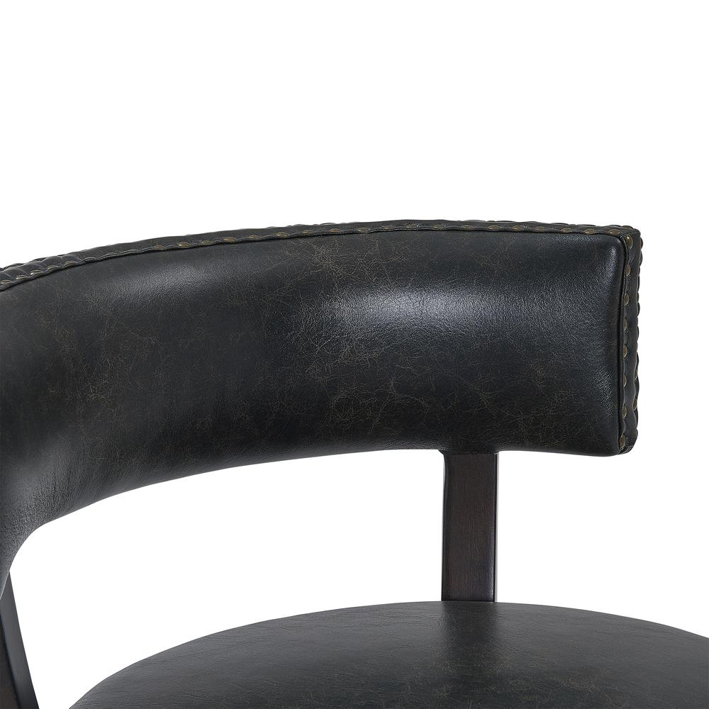 """Corbin 26"""" Counter Height Wood Swivel Barstool in Espresso Finish with Onyx Faux Leather. Picture 7"""