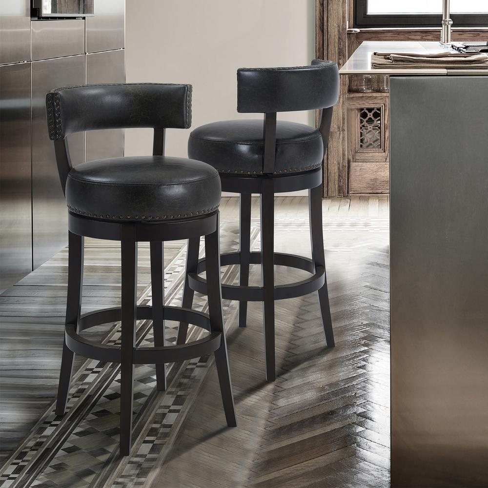"""Corbin 26"""" Counter Height Wood Swivel Barstool in Espresso Finish with Onyx Faux Leather. Picture 8"""
