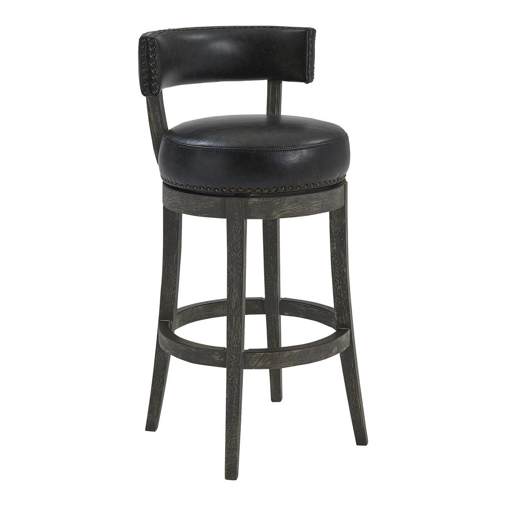 """26"""" Counter Wood Swivel Height Barstool in American Grey Finish with Onyx Faux Leather. Picture 1"""