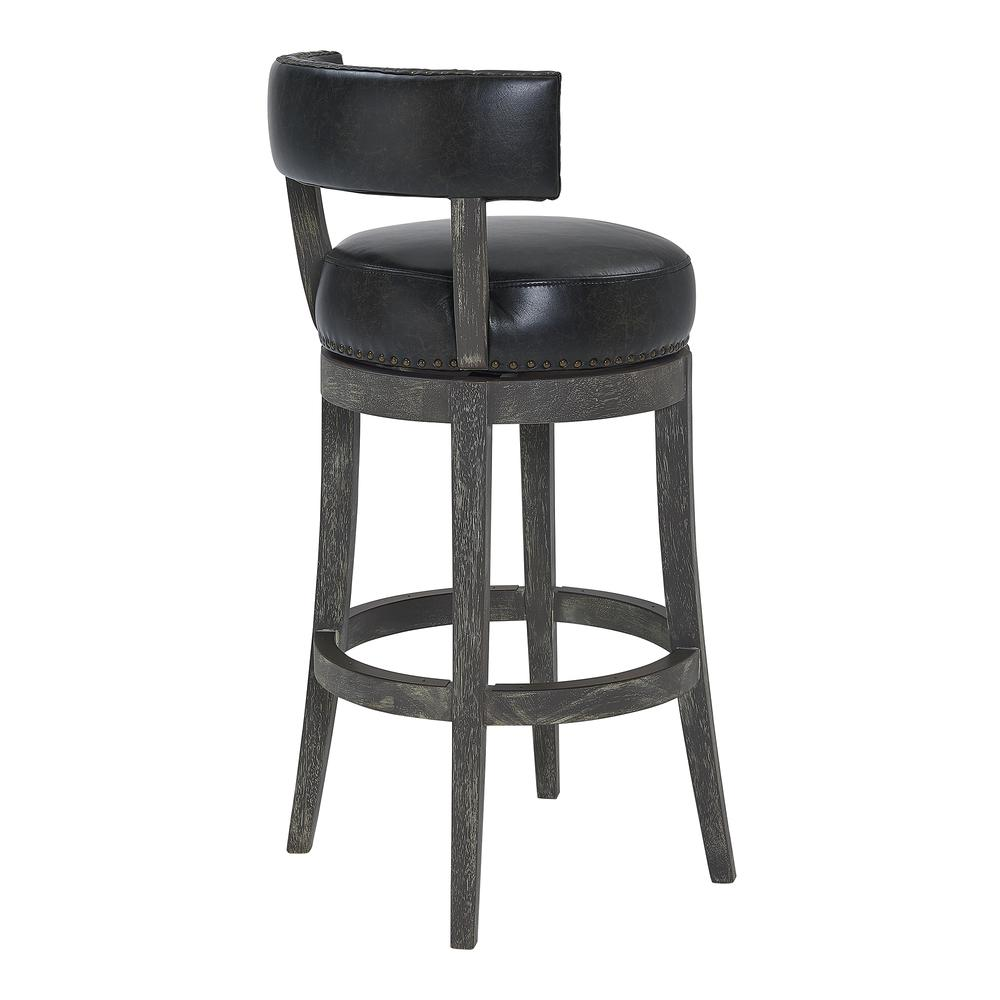 """26"""" Counter Wood Swivel Height Barstool in American Grey Finish with Onyx Faux Leather. Picture 3"""