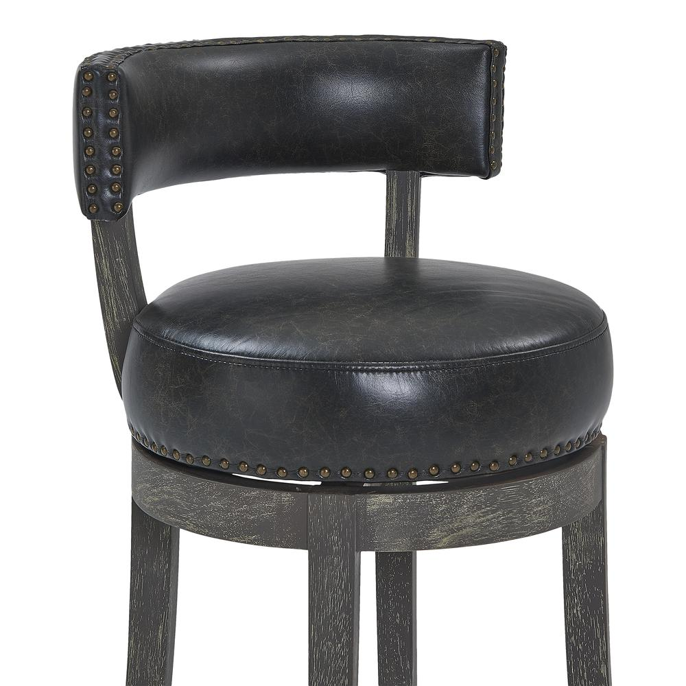 """26"""" Counter Wood Swivel Height Barstool in American Grey Finish with Onyx Faux Leather. Picture 4"""