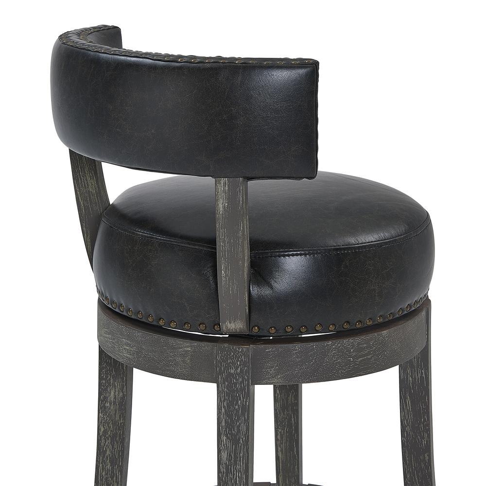 """26"""" Counter Wood Swivel Height Barstool in American Grey Finish with Onyx Faux Leather. Picture 5"""