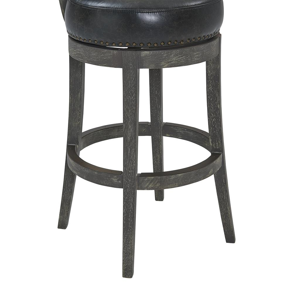 """26"""" Counter Wood Swivel Height Barstool in American Grey Finish with Onyx Faux Leather. Picture 6"""