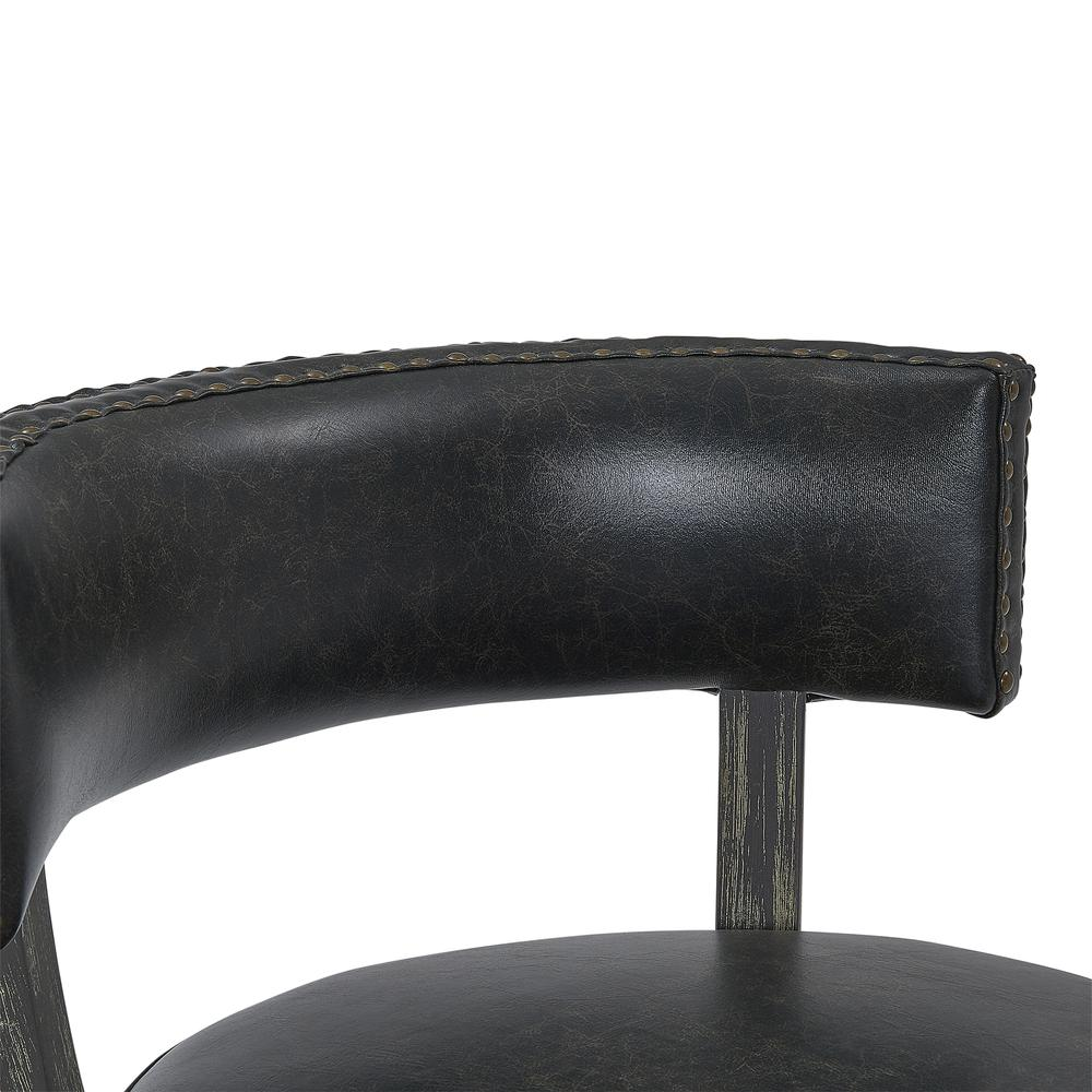 """26"""" Counter Wood Swivel Height Barstool in American Grey Finish with Onyx Faux Leather. Picture 7"""