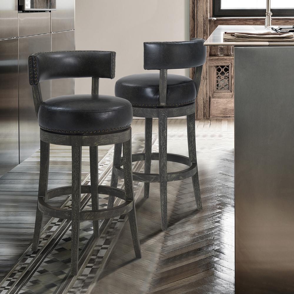 """26"""" Counter Wood Swivel Height Barstool in American Grey Finish with Onyx Faux Leather. Picture 8"""