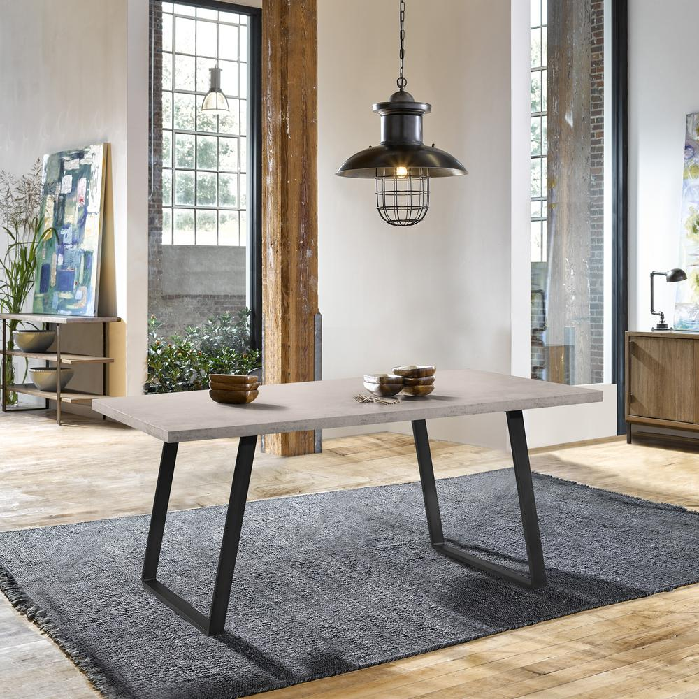 Contemporary Dining Table in Grey Powder Coated Finish with Cement Gray Top. Picture 6