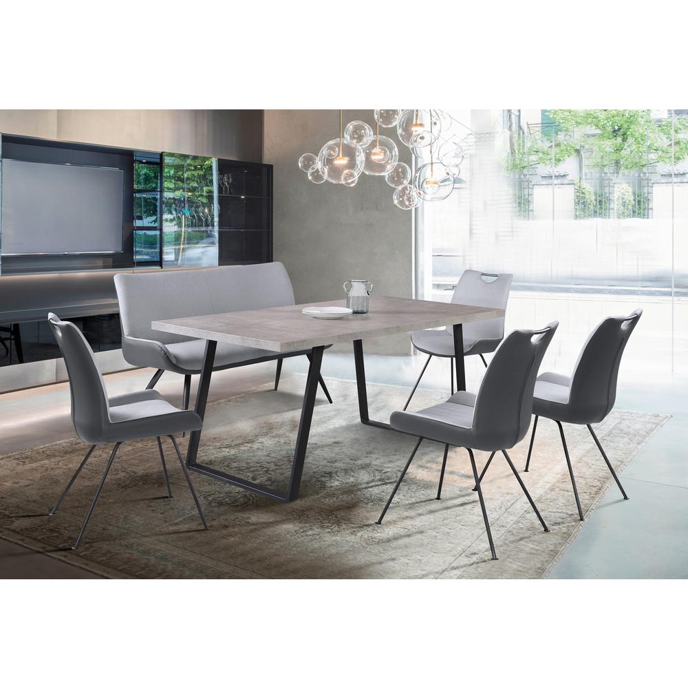 Contemporary Dining Table in Grey Powder Coated Finish with Cement Gray Top. Picture 7