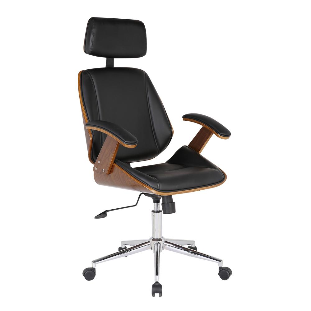 Armen Living Century Office Chair with Multifunctional Mechanism in Chrome finish with Black Faux Leather and Walnut Veneer Back. Picture 1