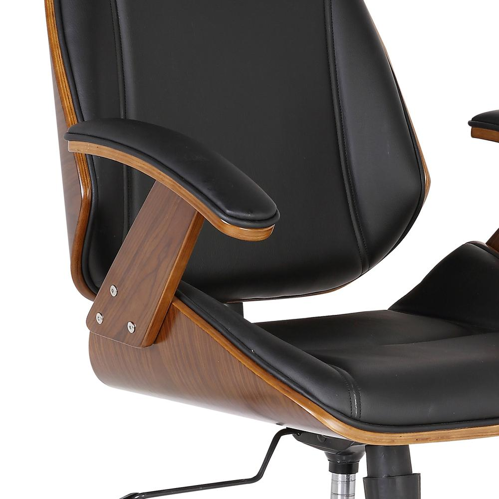 Armen Living Century Office Chair with Multifunctional Mechanism in Chrome finish with Black Faux Leather and Walnut Veneer Back. Picture 3