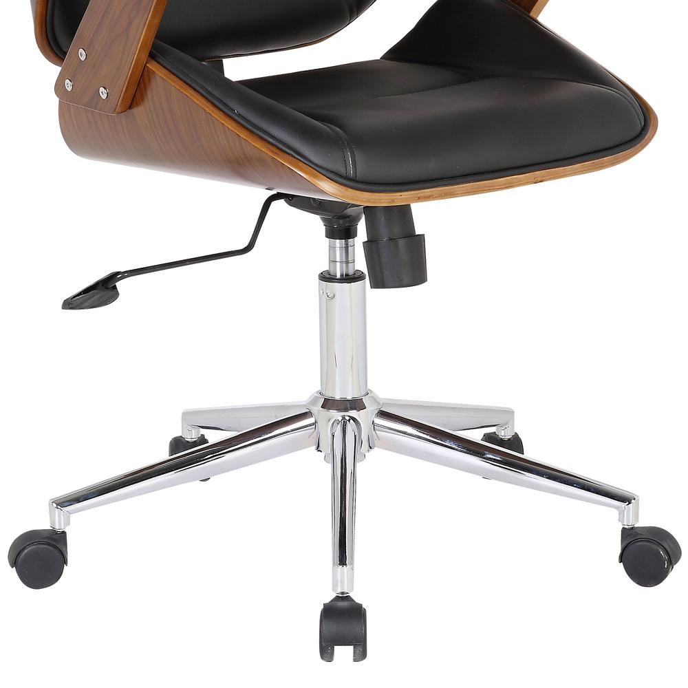 Armen Living Century Office Chair with Multifunctional Mechanism in Chrome finish with Black Faux Leather and Walnut Veneer Back. Picture 4