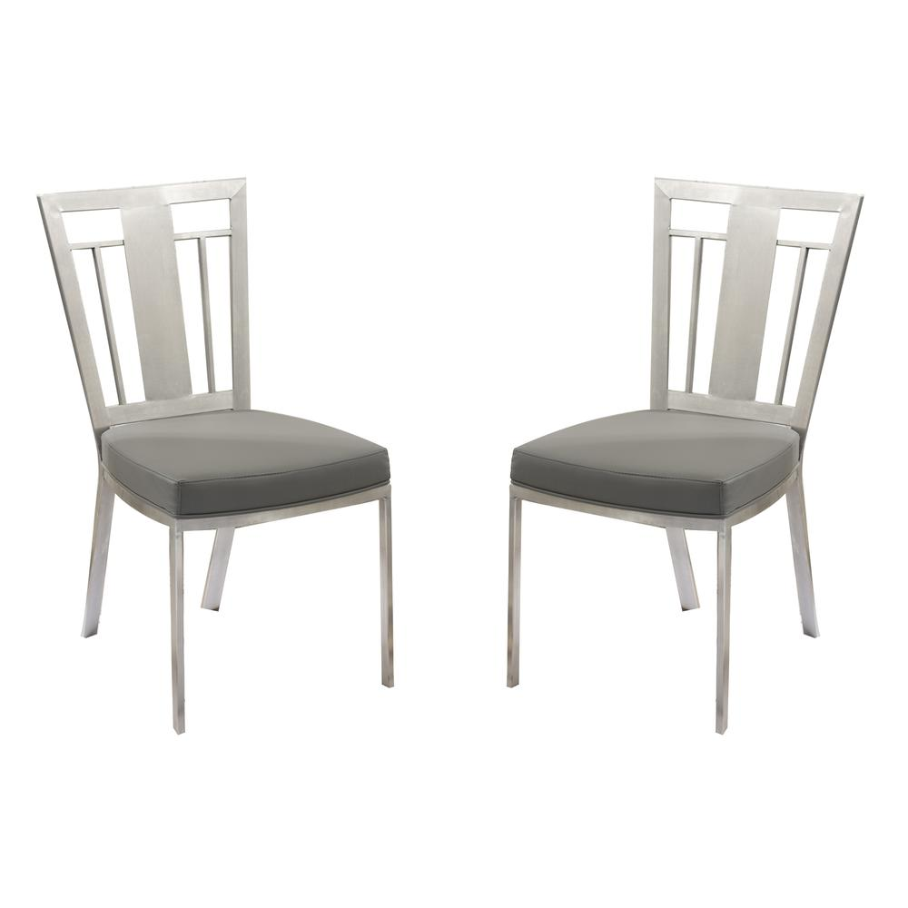 Contemporary Dining Chair In Gray and Stainless Steel - Set of 2. Picture 1