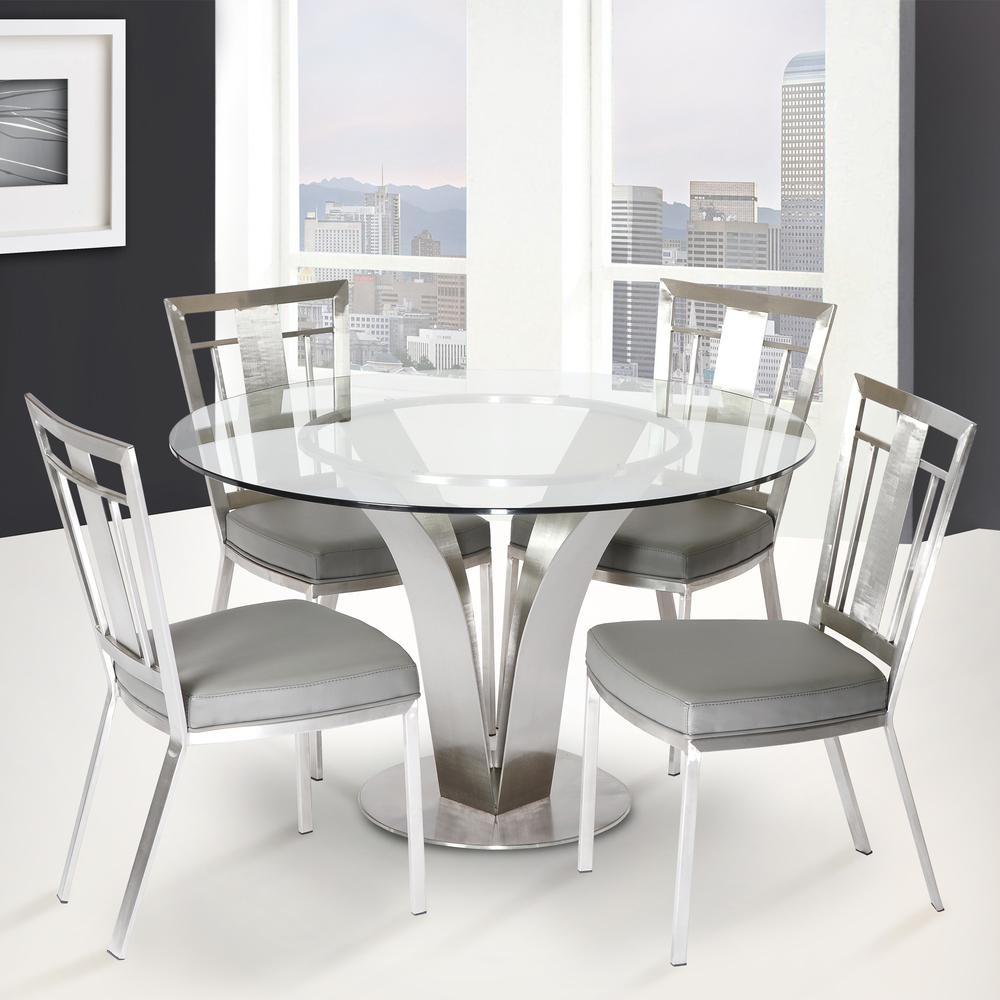 Contemporary Dining Chair In Gray and Stainless Steel - Set of 2. Picture 4