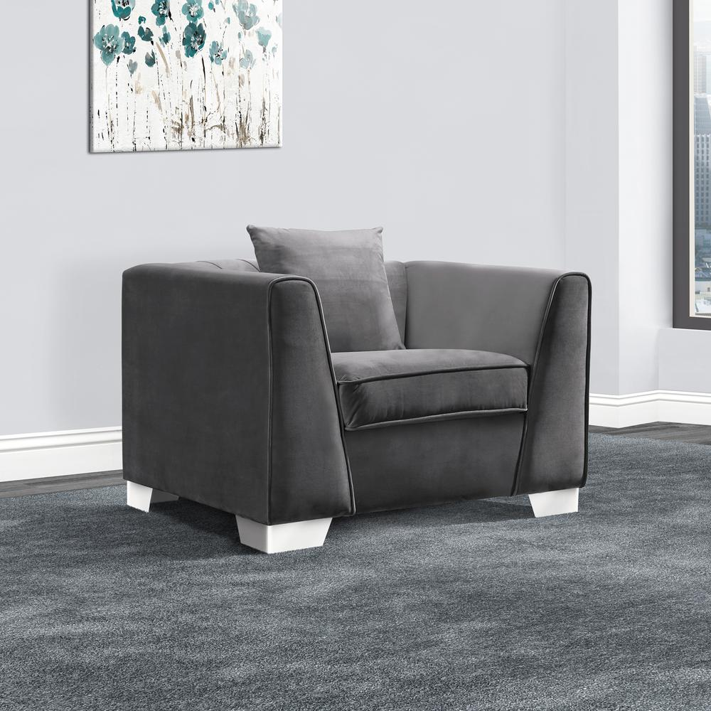 Cambridge Contemporary Sofa Chair in Brushed Stainless Steel and Dark Grey  Velvet by Armen Living