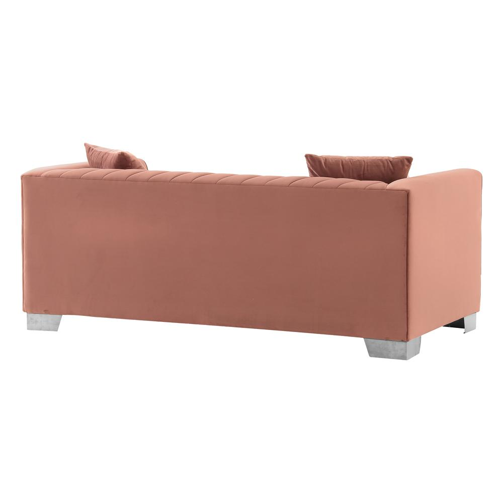 Cambridge Contemporary Loveseat in Brushed Stainless Steel and Blush Velvet. Picture 3