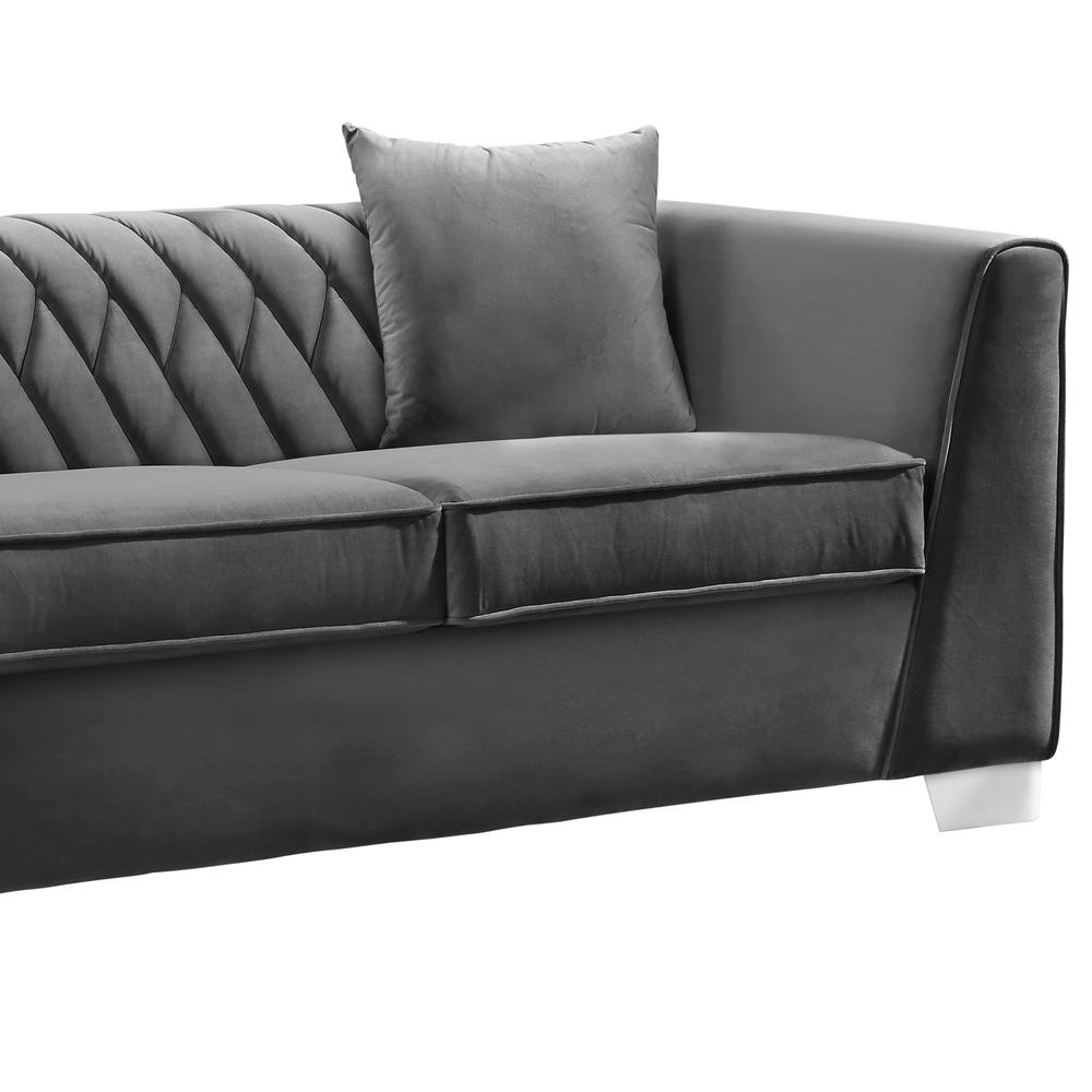 Contemporary Loveseat in Brushed Stainless Steel and Dark Grey Velvet. Picture 2