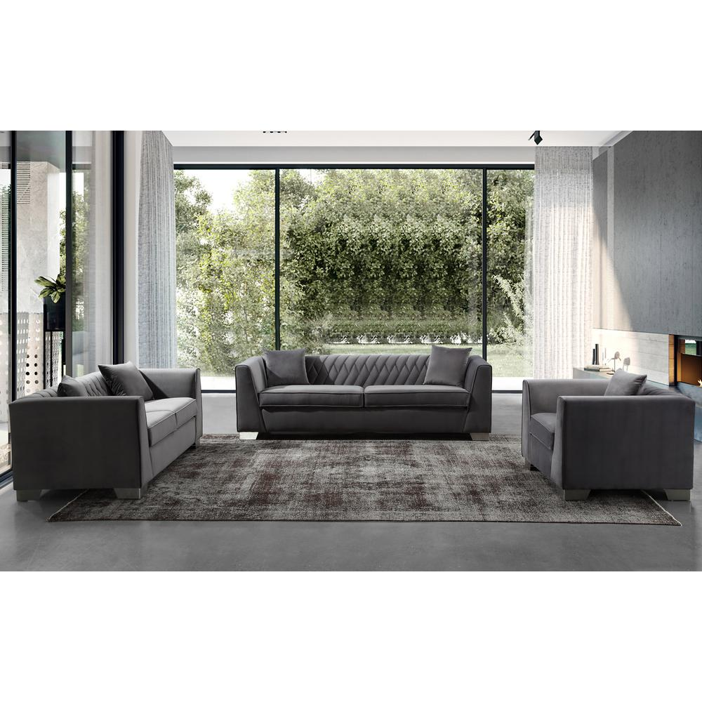 Contemporary Loveseat in Brushed Stainless Steel and Dark Grey Velvet. Picture 4