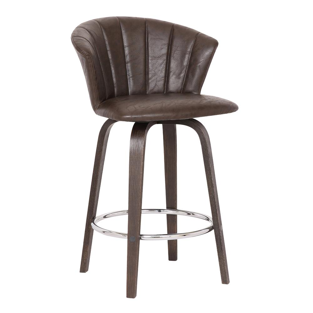 """Connie 26"""" Modern Brown Faux Leather Bar Stool. Picture 1"""