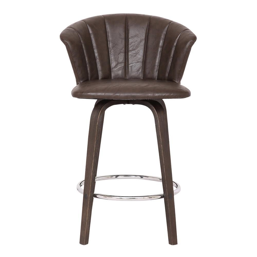 """Connie 26"""" Modern Brown Faux Leather Bar Stool. Picture 2"""
