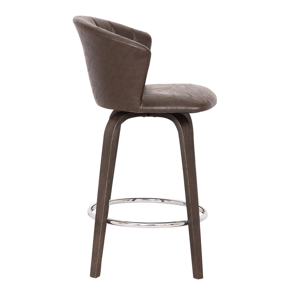 """Connie 26"""" Modern Brown Faux Leather Bar Stool. Picture 3"""