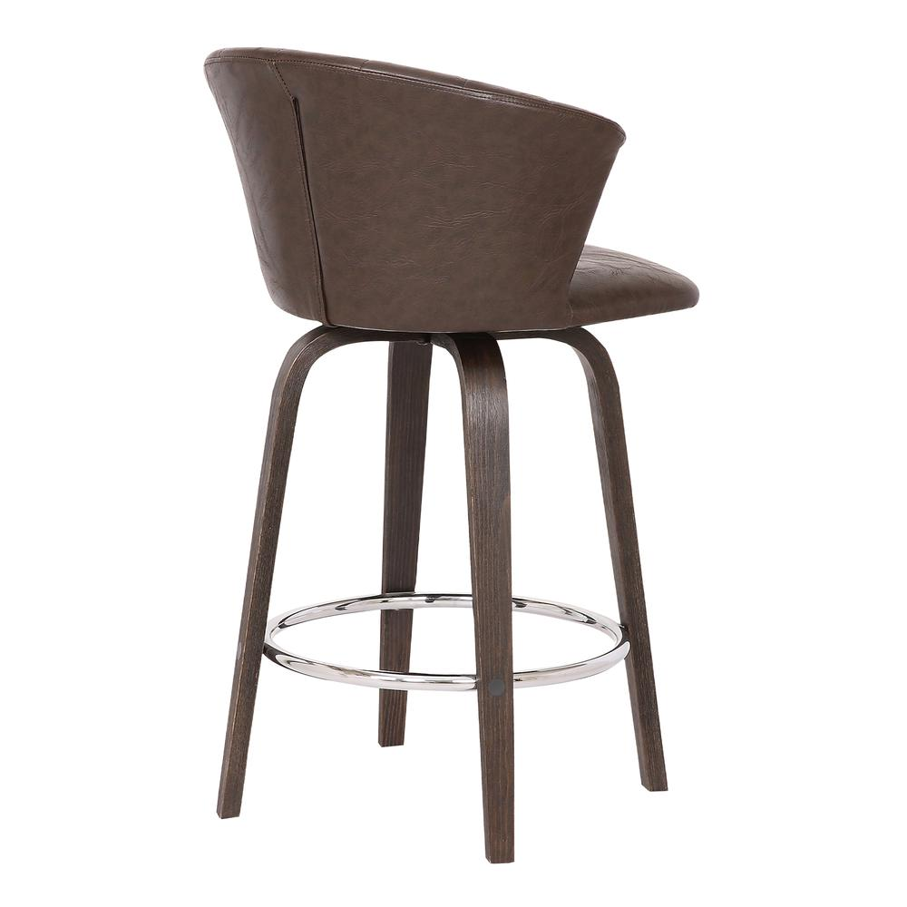 """Connie 26"""" Modern Brown Faux Leather Bar Stool. Picture 4"""