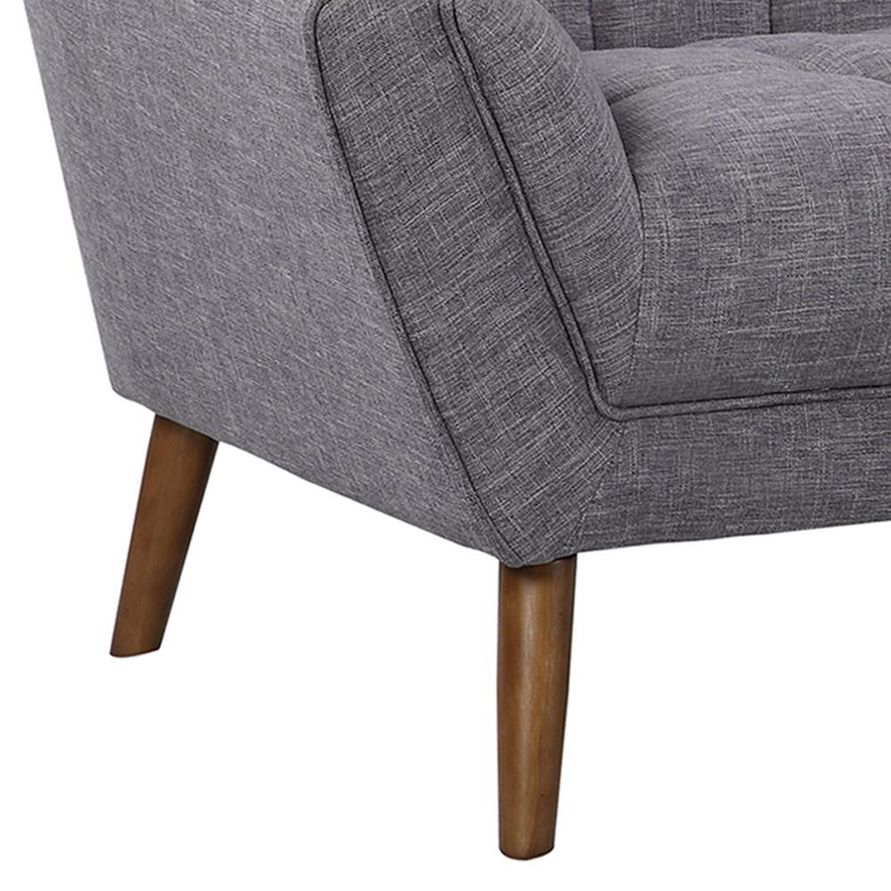 Mid-Century Modern Loveseat in Dark Gray Linen - Walnut Legs. Picture 5