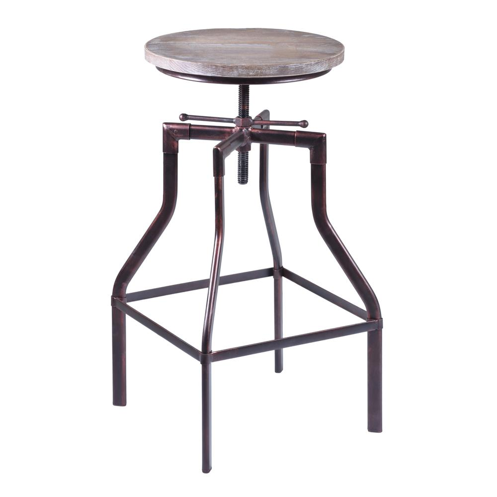 Armen Living Concord Adjustable Barstool in Industrial Copper finish with Pine Wood seat. Picture 1