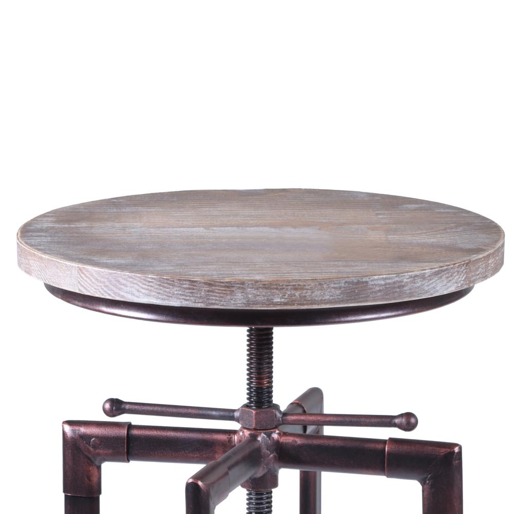 Armen Living Concord Adjustable Barstool in Industrial Copper finish with Pine Wood seat. Picture 2