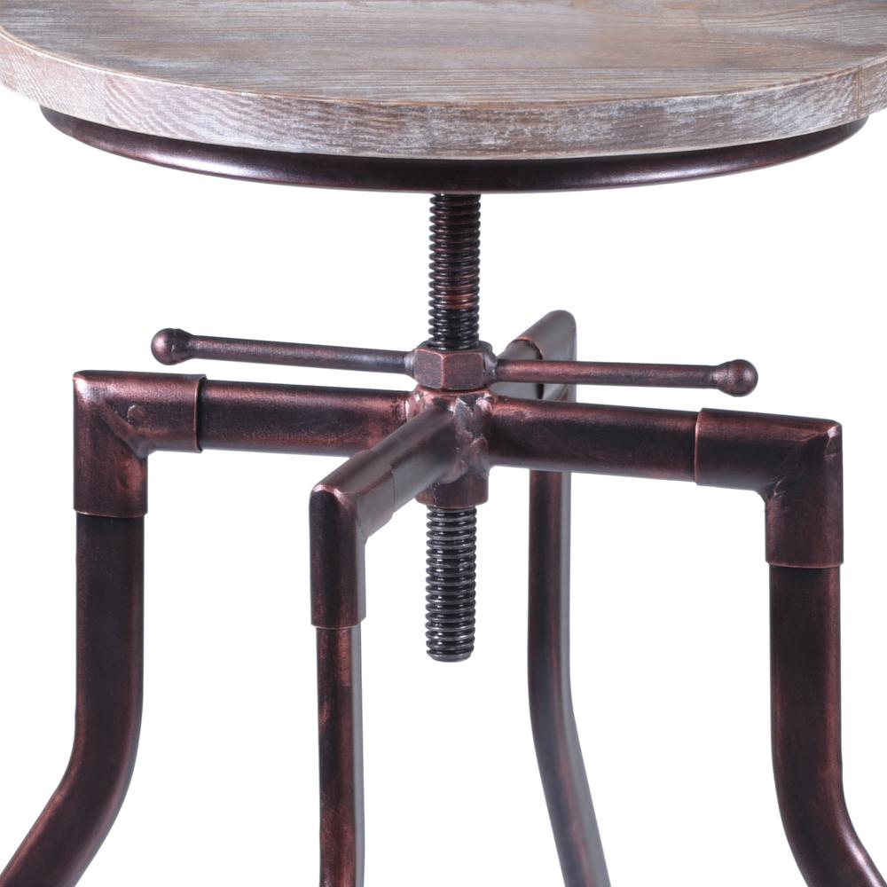 Armen Living Concord Adjustable Barstool in Industrial Copper finish with Pine Wood seat. Picture 3